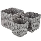 Square Gray Paper Cord Basket Set